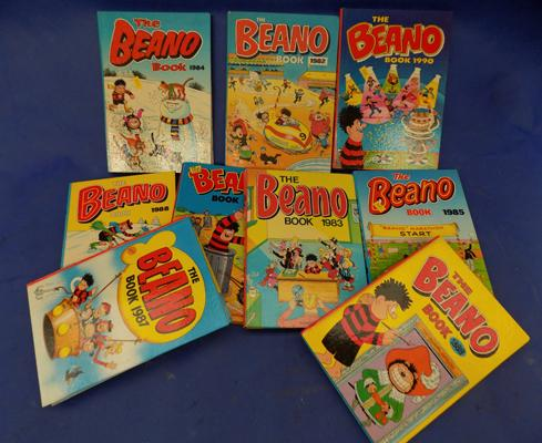 Nine vintage Beano annuals from 1980's