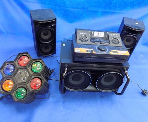 Sony dual unit subwoofer, speakers and dual docks, with lighting machine
