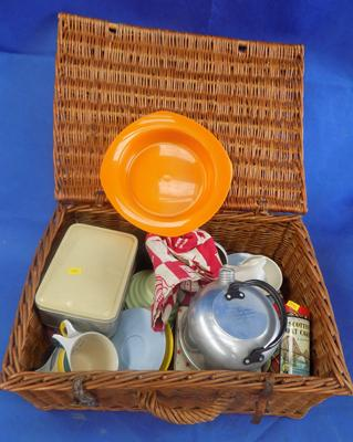 Wicker basket containing plastic picnic set (unchecked) and others