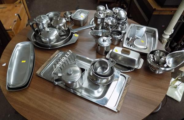 Selection of stainless steel kitchen ware