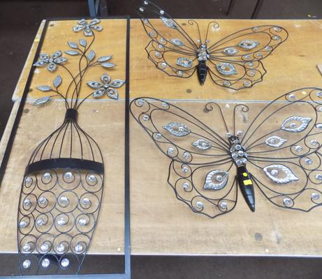2 butterfly wall art, vase and flower wall art