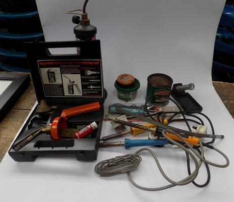 Soldering equipment with soldering irons + gas torch & solder