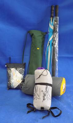 Selection of camping/ outdoor gear incl. camp bed and sleeping bags