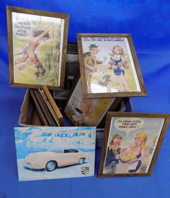 Box of mixed pictures etc. incl. saucy postcards
