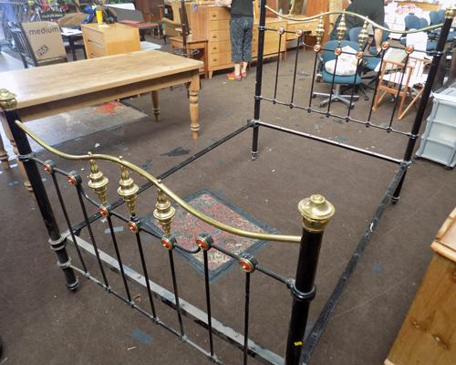 Metal, antique double bed frame