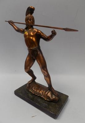 "Large copper warrier figure on marble base, 12"" tall"
