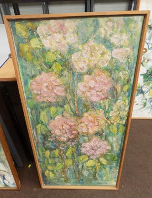Oil painting C1970's pink flowers by Margaret Stephenson