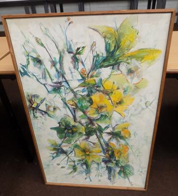 Oil painting C1970's daffodils by Margaret Stephenson