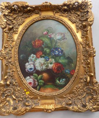 Heavily framed oil painting on canvas in Victorian style - mixed floral arrangement