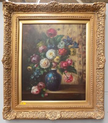 Large gilt framed oil painting on canvas in Victorian style - flowers in vase by T.Bunks