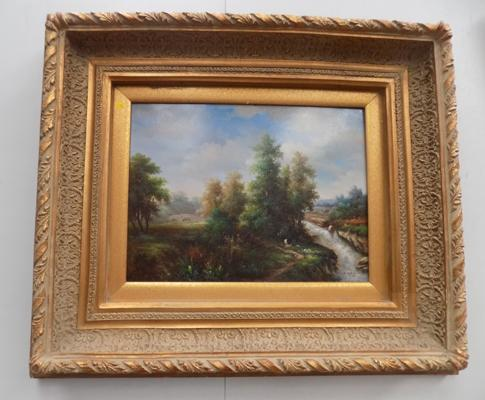 Deep gilt framed oil painting on canvas by J.Carracci - landscape with bridge and stream