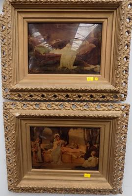 Pair of Victorian crystoleums in original frames. (3 pieces of damage on 1 frame)