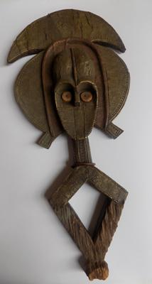 "A Kota tribal wooden and metal mask - 25"" high"