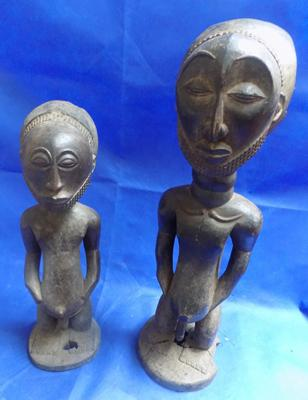 "2 Hemba Singiti Ancestor Statue - some damage.   1 statue 39"" and 1 statue 27"" high"