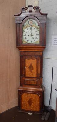 Rogers Brymbo grandfather clock, inlaid wooden case with weights & pendulam