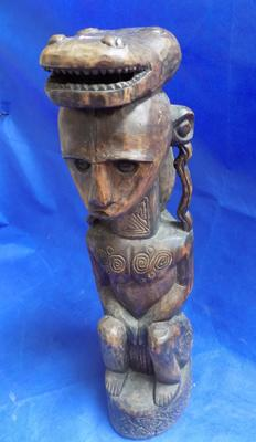"Heavy wood hand carved tribal figure with crocodile down the back  - 30"" high"
