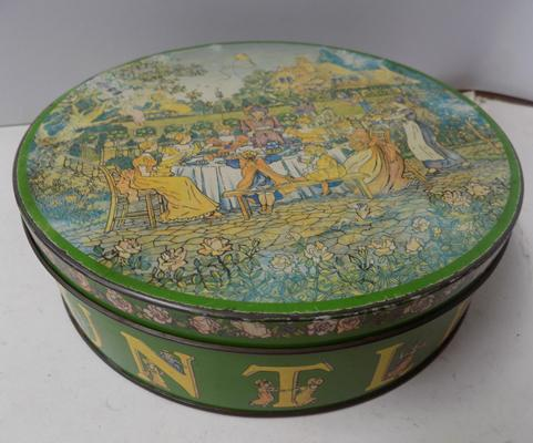 Famous 1980's vintage Huntley & Palmers rude garden party biscuit tin