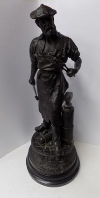 "Late 19th century French blacksmith spelter figure signed Waagen 26"" high"