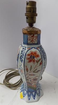 Antique tin glaze oriental Chinese design table lamp. slight damage to base