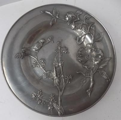 "Italian Achille Gamba pewter wall plaque. Approx 11"" diameter"