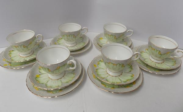 Set of 6 Tuscan fine bone china trios-no damage circa 1920