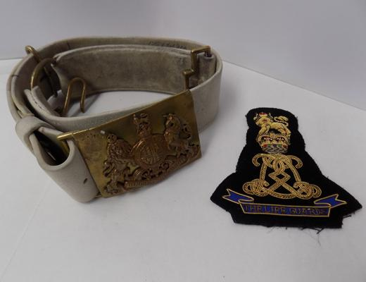 Household cavalry lifeguards leather belt & fabric badge