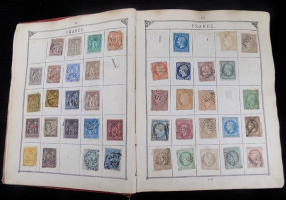 Old stamp album with 19th/ early 20th century stamps