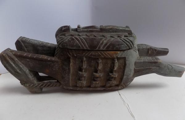 "Hand carved tribal ceremonial vessel with lid - 21"" x 9"""