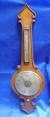 "Large wooden cased vintage barometer 42"" length"