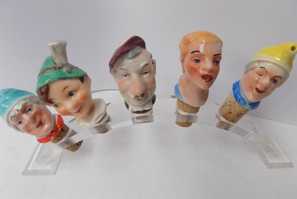 Collection of vintage ceramic bottle stoppers circa 1950