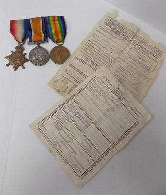 WWI era British military issue medal trio & paperwork-Royal Engineers