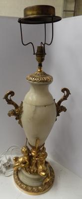 "Large antique gilt and alabaster lamp. Approx 19"" high"