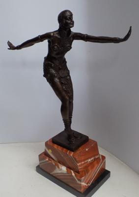 "Deco style bronze lady stretching forward, foundry mark & signed 20.5"" tall"