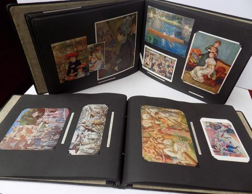 2x 1920's postcard albums-Flemish Art & French impression-postcards & prints
