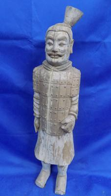 Wooden carved 1st Emperors guard approx 4ft tall, previous restoration