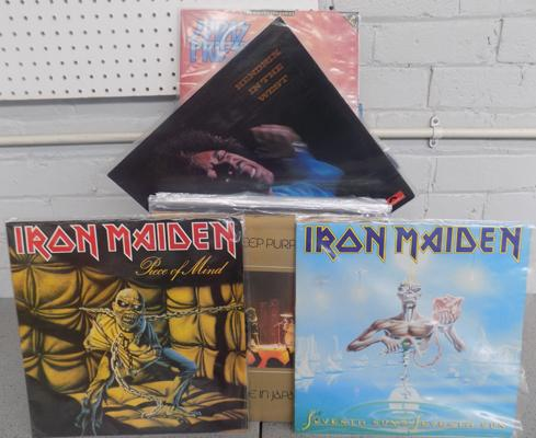Box of collectable rock records inc Iron Maiden, Hendrix, Judas Priest, Motorhead etc