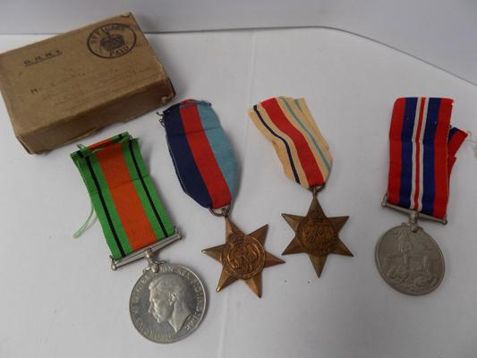 WWII era British military issue-4 medal group & box of issue