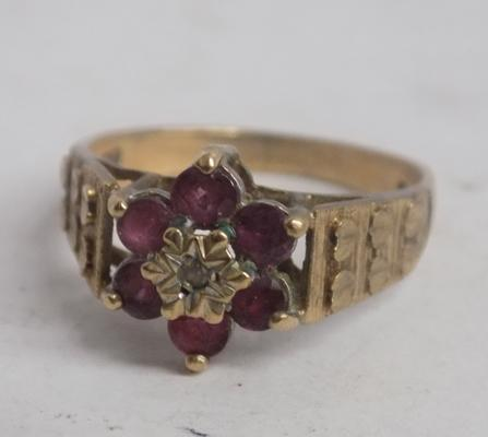 Vintage 9ct gold diamond & ruby ring