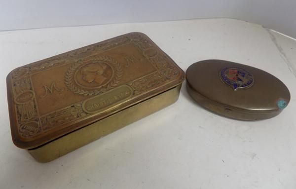 WWI Christmas box & WWII Bradford territorial tin
