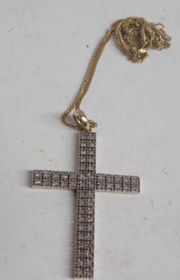"9ct Gold 0.50ct diamond crucifix/cross + 18"" neckchain"