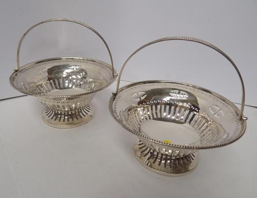 Pair of Edwardian silver baskets-maker WN Chester 1907