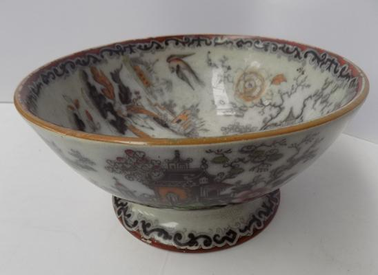 Cumbrian rum butter bowl with Chinese hand painted design late 1880's