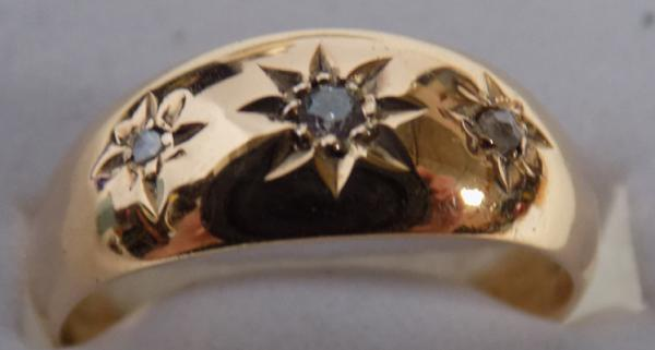 9ct Gold diamond trilogy gypsy ring-size P1/2