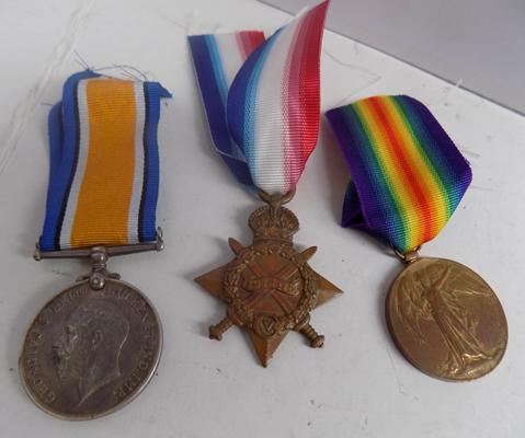 WWI era British Military issue 3 medal group-Gunner Beanland R.F.AT