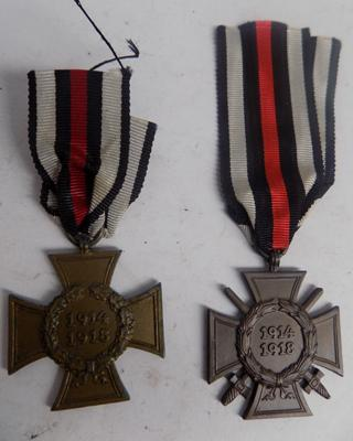 Pair of WWI German cross of honour medals