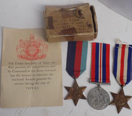 3x Unworn WWII medals-with box