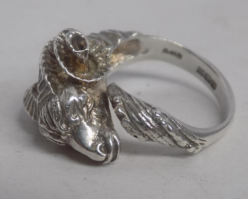 Unusual sterling silver 'Ram' ring Birmingham hallmark-makers mark EJLD