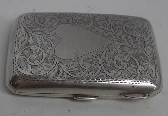 Unusual solid silver 'left handed' cigarette case-Birmingham hallmarked
