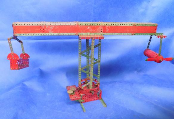 Early vintage Meccano crane circa 1930
