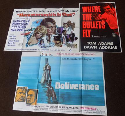 Selection of original posters 'Deliverance, Where the Bullets Fly, Hammersmith is Out'